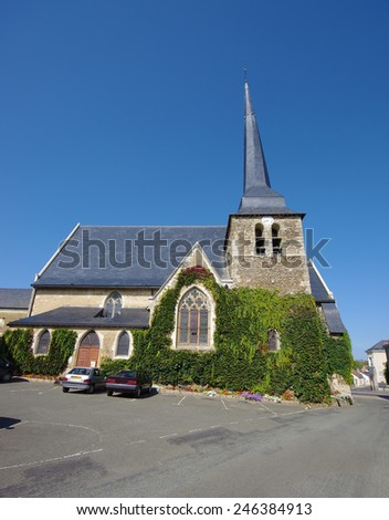 Saint Hippolyte et Saint Laurent church in France - stock photo