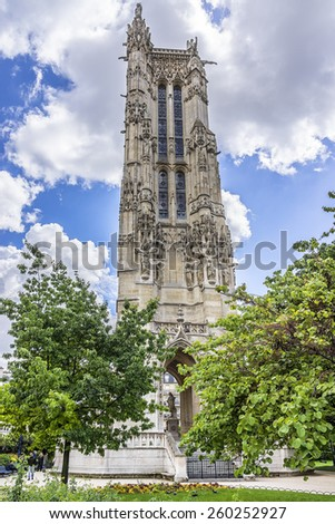 Saint-Jacques Tower (Tour Saint-Jacques) located on Rivoli street in Paris, France. This 52 m Flamboyant Gothic tower is all that remains of former 16 century Church of Saint-Jacques-de-la-Boucherie. - stock photo