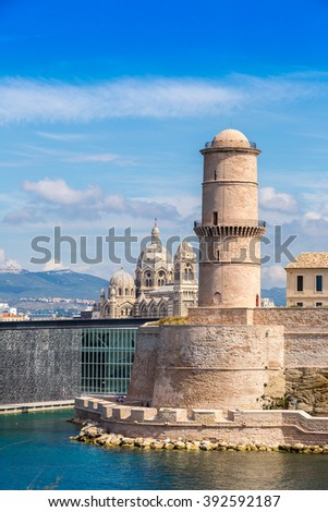 Saint Jean Castle and Cathedral de la Major and the Vieux port in Marseille, France - stock photo