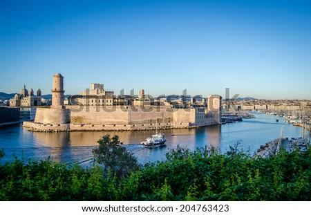 Saint Jean Castle And The Vieux Port Harbor Marseille, South France - stock photo