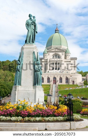 Saint Joseph Oratory construction began in 1904. The original Church was enlarged many times. The actual Basilica construction was terminated in 1967. Montreal, Quebec, Canada. - stock photo
