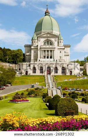 Saint Joseph Oratory construction began in 1904. The original Church was enlarged many times. The actual Basilica construction was terminated in 1967. - stock photo