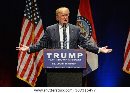 Saint Louis, MO, USA - March 11, 2016: Donald Trump addresses supporters at the Peabody Opera House in Downtown Saint Louis - stock photo
