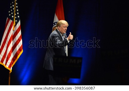 Saint Louis, MO, USA - March 11, 2016: Donald Trump talks to supporters at the  - stock photo