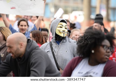 Saint Louis, MO, USA - March 11, 2016: Protesters outside a Donald Trump rally at the Peabody Opera House in Downtown Saint Louis - stock photo