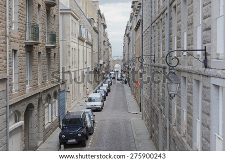 SAINT-MALO, FRANCE - JULY 6, 2011: High angle view of Intra Muros, the old town of Saint-Malo. Today Saint-Malo is the main tourist attraction of Brittany in France. - stock photo