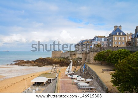 Saint-Malo old city over atlantic coas , Brittany, France - stock photo