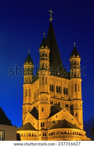Saint Martin church in Cologne with illumination at night, Germany  - stock photo