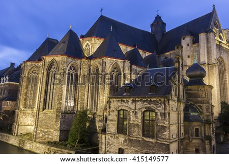 Saint-Michaels Church in Ghent in Belgium in the evening - stock photo