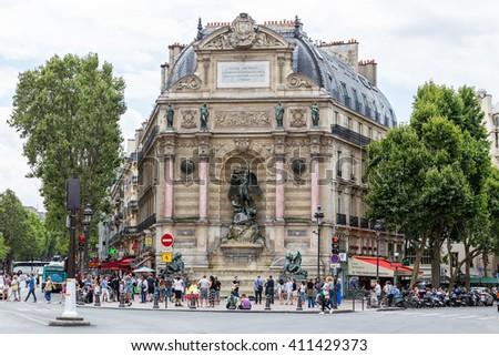 Saint Michel fountain in Paris, France - stock photo