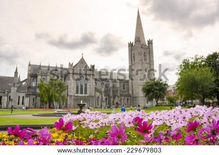 Saint Patrick Cathedral Garden in Dublin, Ireland - stock photo