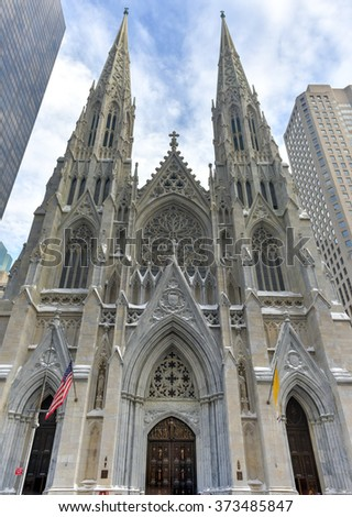 Saint Patrick's Cathedral in New York, New York. - stock photo