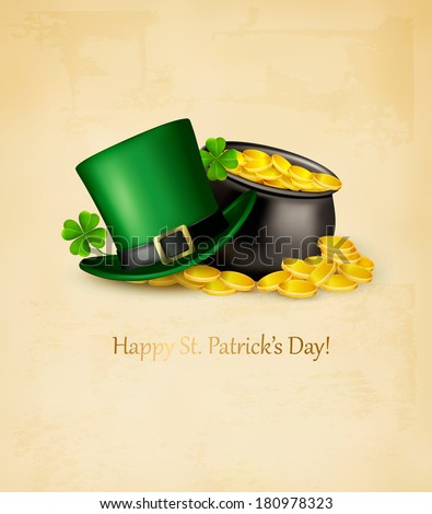 Saint Patrick's Day background with clover leaves, green hat and gold coins in a cauldron. Raster version - stock photo