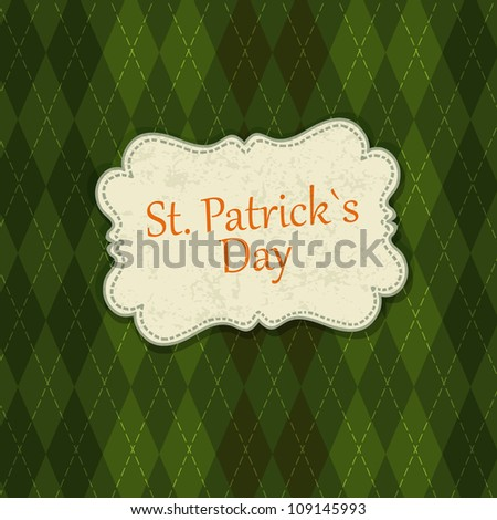 Saint Patrick's Day Card Design Template. Raster version, vector file available in portfolio - stock photo