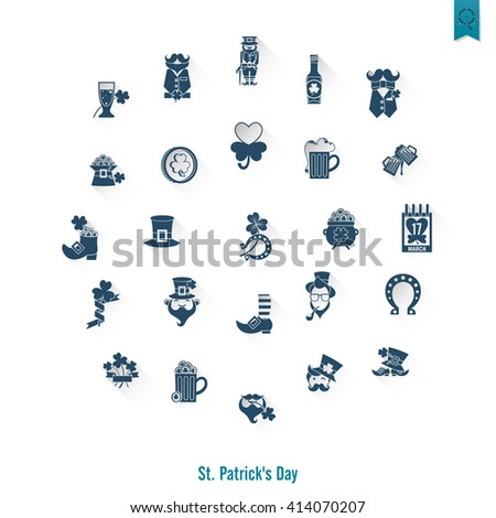 Saint Patricks Day Isolated Icon Set. . Clean Work Minimum Points - stock photo