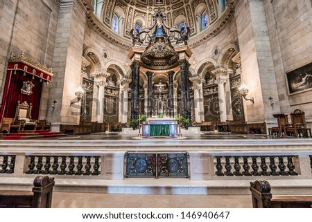 SAINT PAUL, MINNESOTA - JULY 16: Interior of Cathedral of Saint Paul, July 16, 2013. Largest Cathedral in Minnesota, construction began in 1906 and was opened to public in 1915.  - stock photo