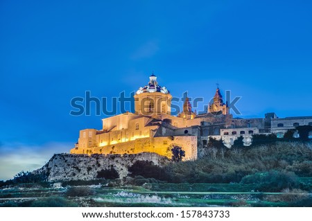 Saint Paul's Cathedral designed by the architect Lorenzo Gafa in Mdina, Malta - stock photo