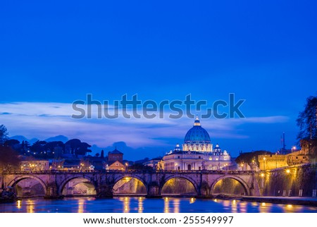 Saint Peter cathedral over Tiber river in Rome Italy - stock photo