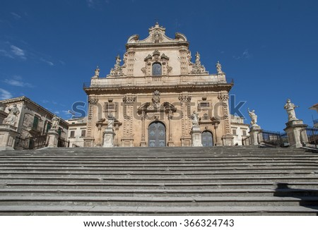 Saint Peter church in the town of Modica, Ragusa, Sicily, Italy - stock photo