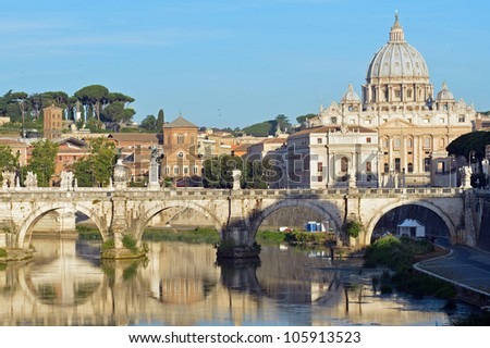 Saint Peter's basilica and Saint Angelo bridge in Rome - stock photo