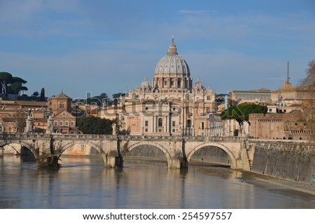 Saint Peter's Basilica in Rome, view from river Tiber - stock photo