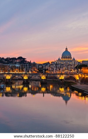 Saint Peter's Basilica looking towards Vatican City, in the evening after sunset. - stock photo