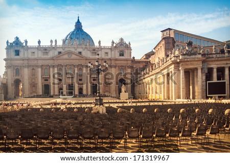 Saint Peter's square at sunset, Vatican City - stock photo