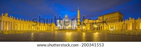 Saint Peter's Square, Piazza San Pietro and Saint Peter's Basilica at night in the Vatican City, Rome, Italy - stock photo