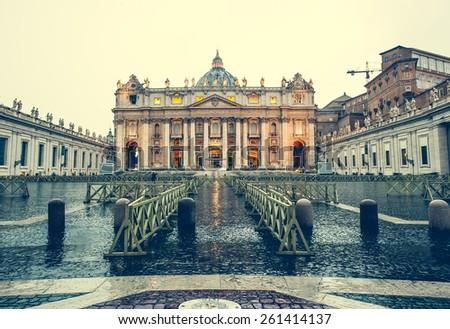 Saint Peter Square and Saint Peter Basilica, Vatican City, Rome, Italy - stock photo