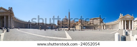 Saint Peter square in Vatican. Panorama. - stock photo