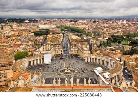 Saint Peter square of Vatican viewed from above - stock photo