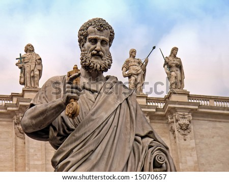 Saint Peter statue in the Vatican (Rome - Italy) - stock photo