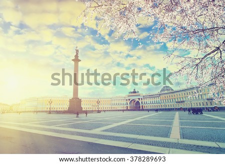 Saint Petersburg at spring sunset.  Vintage colored picture. Business, Love and travel concept - stock photo