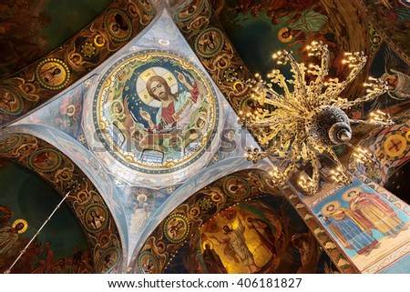 SAINT PETERSBURG, RUSSIA - APRIL 15, 2016: Interior of the Church of the Saviour on Spilled Blood.   Church was built on the site where Emperor Alexander II was fatally wounded in March 1881 - stock photo