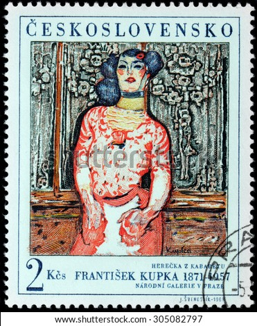 SAINT-PETERSBURG, RUSSIA - AUGUST 10, 2015: A stamp printed by CZECHOSLOVAKIA shows picture Gallien Girl  by famous Czech painter Frantisek Kupka, circa June, 1968. - stock photo