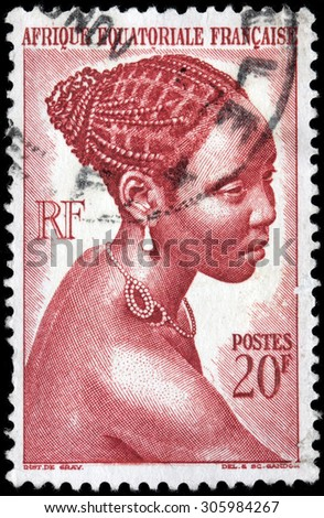 SAINT-PETERSBURG, RUSSIA - AUGUST 10, 2015: A stamp printed by FRENCH EQUATORIAL AFRICA shows image portrait of Bacongo Girl, circa February, 1947. - stock photo