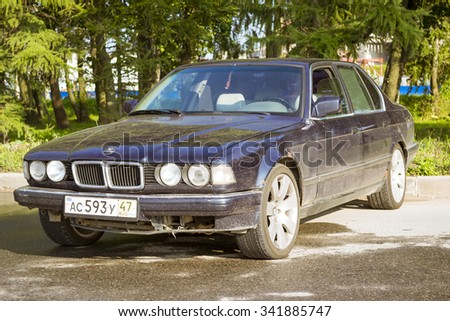 SAINT-PETERSBURG, RUSSIA - AUGUST 3, 2013: Old-car BMW 7-series at the meeting, fans of the Bavarian automaker, Krestovsky island, St. Petersburg - stock photo
