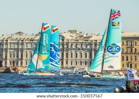 SAINT-PETERSBURG, RUSSIA - AUGUST 23, 2015: Participants of Act 6 of the Extreme Sailing Series catamarans race on 20th-23th August 2015 in St. Petersburg, Russia - stock photo