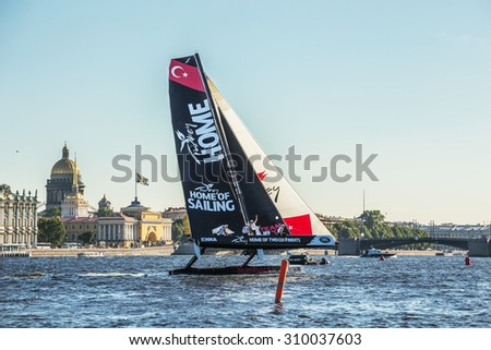 SAINT-PETERSBURG, RUSSIA - AUGUST 23, 2015: Team Turx (Turkey) after the end of Extreme Sailing Series Act 6 catamarans race on 20th-23th August 2015 in St. Petersburg, Russia - stock photo