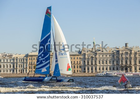 SAINT-PETERSBURG, RUSSIA - AUGUST 23, 2015: The Wave, Muscat (OMAN) yacht - the winner of Extreme Sailing Series Act 6 catamarans race on 20th-23th August 2015 in St. Petersburg, Russia - stock photo
