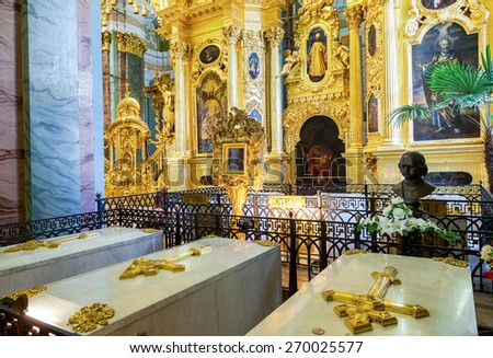 SAINT PETERSBURG, RUSSIA - AUGUST 9, 2014: Tomb of Peter the Great in the Peter and Paul cathedral - stock photo