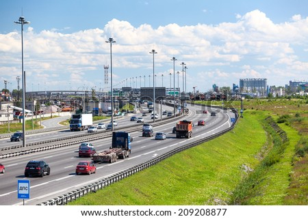 SAINT-PETERSBURG, RUSSIA - CIRCA JULY, 2014: Saint-Petersburg orbital freeway encircling city at summer season. The federal public road A-118 - stock photo