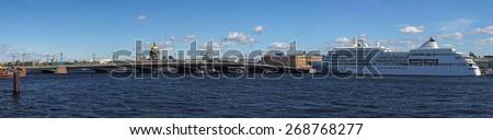 Saint-Petersburg, Russia-Cirka summer 2010:Silver whisper cruise ship moored to the Promenade des Anglais in Saint-Petersburg at sunny day, Russia at Summer 2010 - stock photo