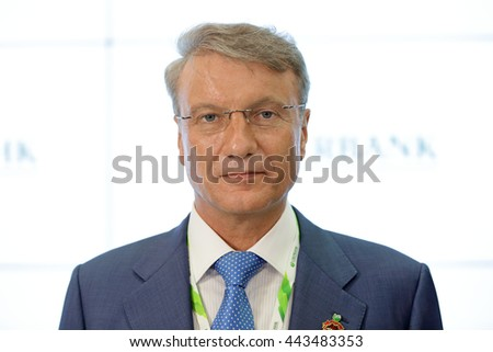 SAINT-PETERSBURG, RUSSIA - JUN 16, 2016: St. Petersburg International Economic Forum SPIEF-2016. Herman Oskarovich Gref - CEO and Chairman of the Executive Board of the largest Russian bank Sberbank. - stock photo