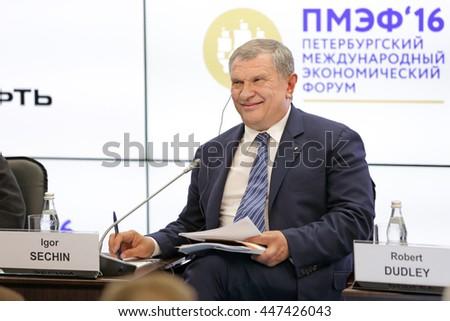 SAINT-PETERSBURG, RUSSIA-JUN 16, 2016: St. Petersburg International Economic Forum SPIEF-2016. Igor Sechin - President, Chairman of the Management Board, Vice-chairman of Board of directors of Rosneft - stock photo