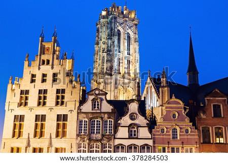 Saint Rumbold's Cathedral in Mechelen. Mechelen, Flemish Region, Belgium - stock photo