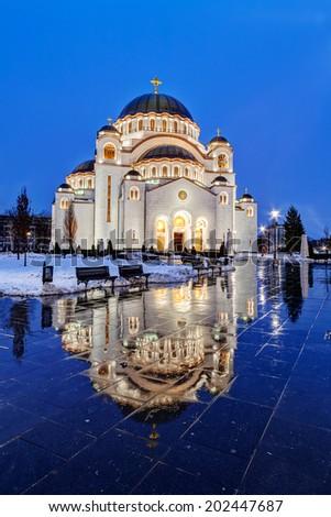 Saint Sava temple in winter, Belgrade Serbia - stock photo
