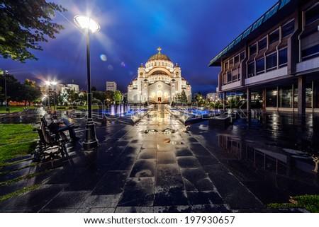 Saint Sava temple with fountain in Belgrade Serbia - stock photo