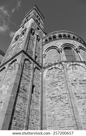 Saint Servatius church at the Vrijthof in Maastricht, Holland (black and white) - stock photo