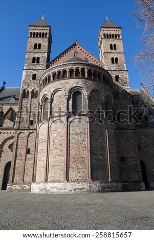 Saint Servatius church at the Vrijthof in Maastricht, The Netherland - stock photo